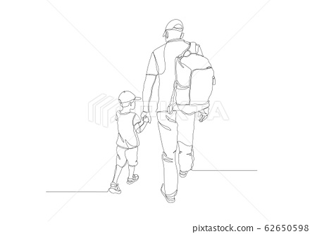 Black line drawing of father and his daughter walking , Line art minimalist design on white background. 62650598
