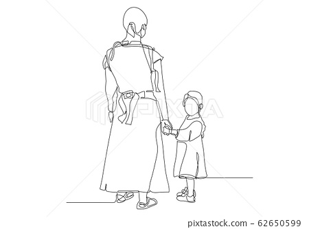 Black line drawing of mother and his daughter walking , Line art minimalist design on white background. 62650599