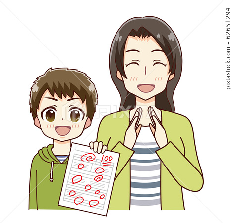 Illustration of a mother who is happy with her child's grades 62651294