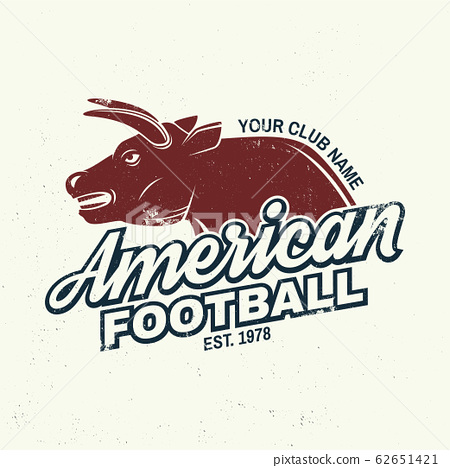 American football or rugby club badge. Vector. Concept for shirt, logo, print, stamp, patch. Vintage typography design with bull sportsman player silhouette 62651421