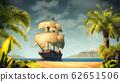 Pirates ship on the sea 62651506