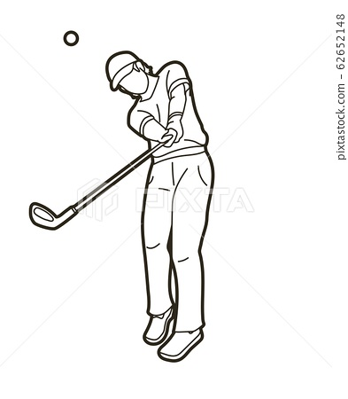 Golf player Golfer action cartoon sport graphic vector. 62652148
