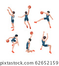 Basketball players. Sport athletes playing in active games with ball healthy lifestyle vector isometric people 62652159