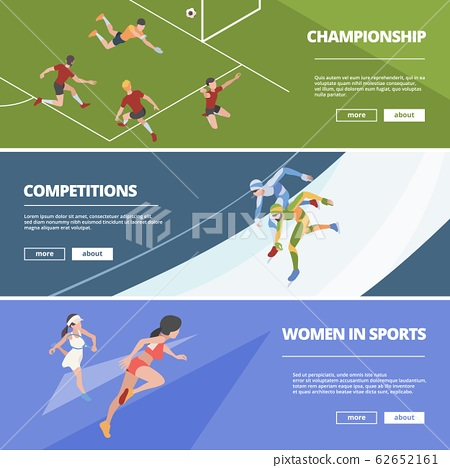 Sport banners. Olympic games athletes in action poses gymnastic jumpers runners soccer players vector isometric people 62652161