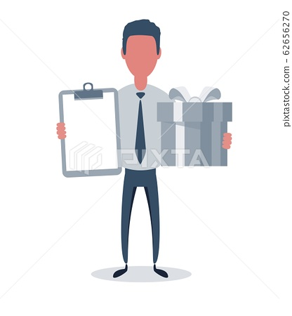 Businessman or clerk. Male character in trendy simple style with objects, flat vector illustration. 62656270