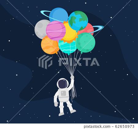 Cute astronaut cartoon floating with balloon 62658973