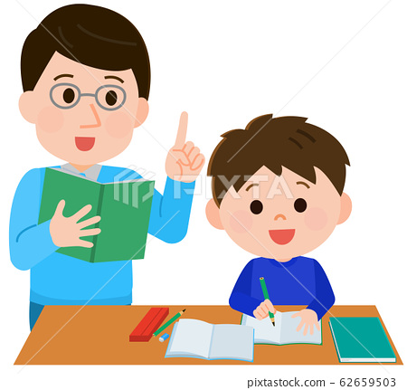 Tutor, tutoring, boy, male teacher, illustration 62659503