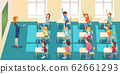 education, elementary school, learning and people concept - group of school kids with teacher sitting in classroom and raising hands. 62661293