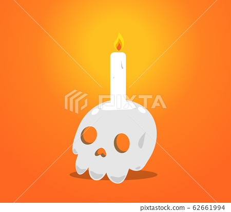 a candle on top of the skull head 62661994