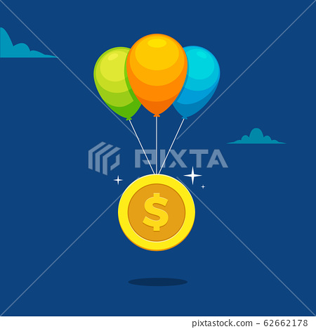 a dollar coin and three balloons 62662178