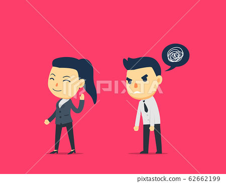 business female is ignoring the angry male worker 62662199