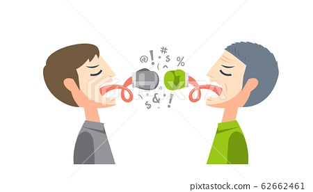 young man with old man is having argument with 62662461
