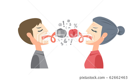 young man with old woman is having argument with 62662463
