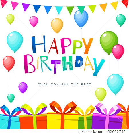Colorful Bright Birthday Card. Isolated Vector 62662743