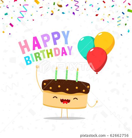 Happy Cute Cake Birthday Card 62662756