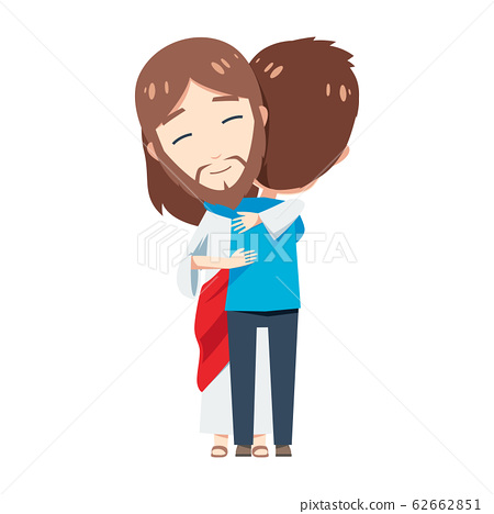 Cute Jesus is Hugging a boy with blue shirt 62662851