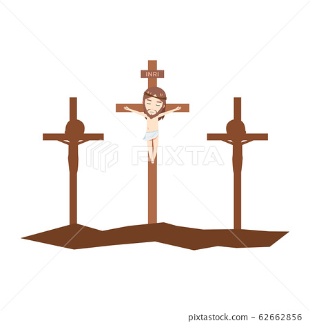 Jesus is death on brown cross among two silhouette 62662856