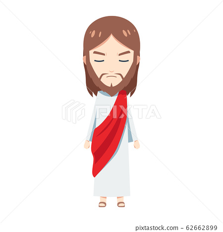 Cute Jesus is mad. Isolated Vector illustration 62662899