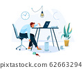Burnout concept vector background. Tired male office worker sitting on the chair and trying work at the computer. Business flat cartoon illustration isolated on white backdrop 62663294