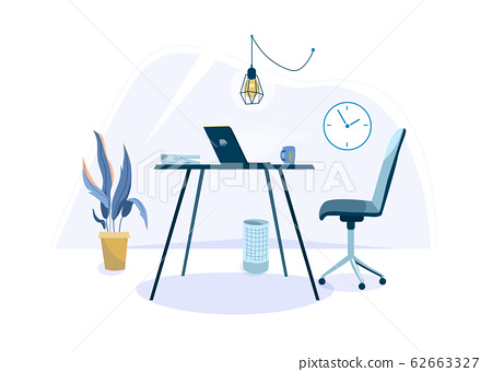 Office workplace vector background for one person with desk, chair, laptop, cup, basket and plant. Minimal modern interior in simple flat style 62663327