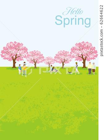 """꽃놀이를 즐기는 사람들 세로 구도 A4 비율 - 문자 대해서 """"Hello Spring"""" 62664622"""