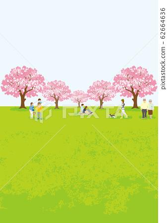 꽃놀이를 즐기는 사람들 세로 구도 A4 비율 62664636