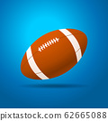 Football ball with blue background. Isolated 62665088