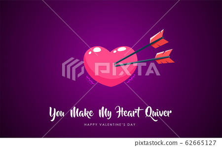 one heart with two arrows 62665127