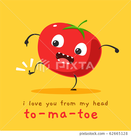 a cute tomato mascot in yellow background 62665128