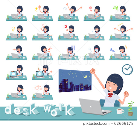 flat type school girl White shirt summer_desk work 62666178