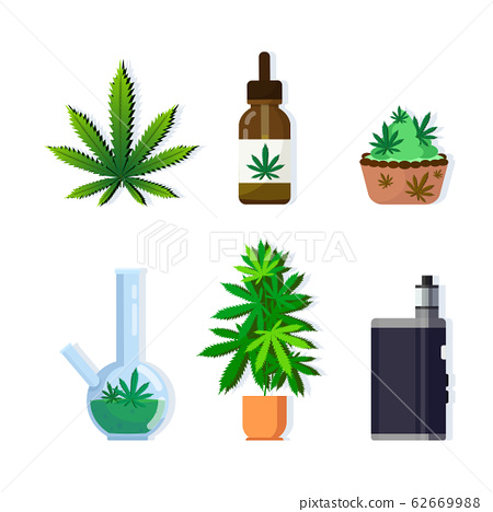 set cannabis products icons drug consumption concept marijuana legalization collection flat 62669988