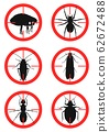 Set of warning signs with insects. Pests. Vector illustration 62672488