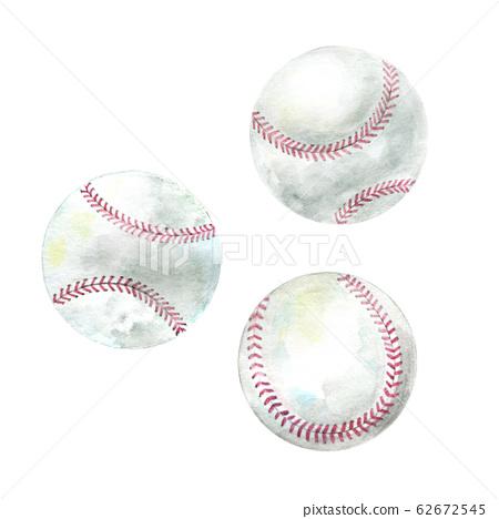 Hand drawn watercolor baseballs 62672545