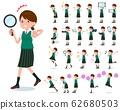flat type school girl green vest summer_Action 62680503