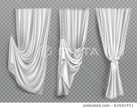 White window curtains on transparent background 62682451