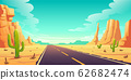 Desert landscape with road, cactuses and rocks 62682474