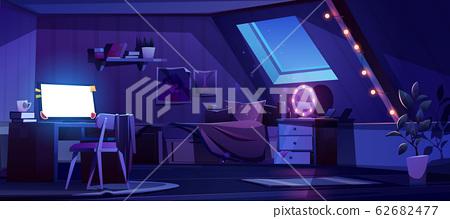 Girl bedroom interior on attic at night 62682477