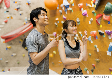Bouldering (young men and women, fitness, training 62684124