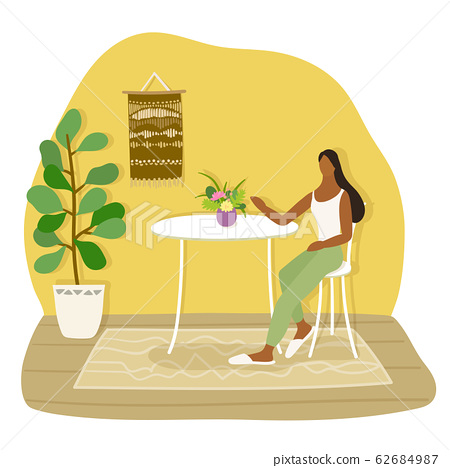 A girl sitting on a chair. Vector flat illustration. 62684987