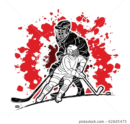 Group of Ice Hockey players action cartoon sport graphic vector 62685473