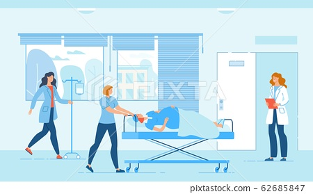 Medical Staff and Pregnant Woman on Moving Bed 62685847
