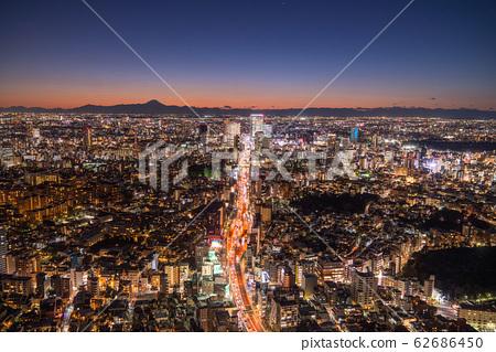 """Tokyo"" Night view of Mount Fuji and Tokyo 62686450"