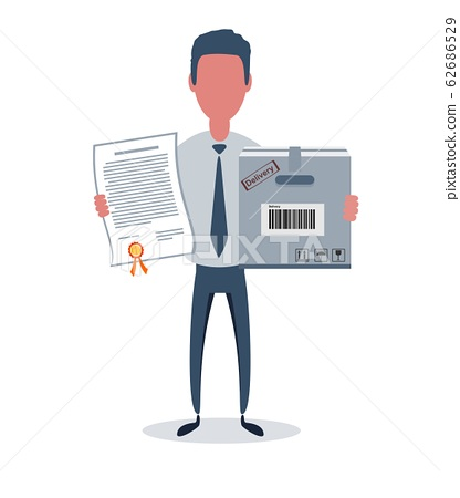 Businessman or clerk. Male character in trendy simple style with objects, flat vector illustration. 62686529