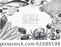 Japanese cuisine design template. Sushi hand drawn 62686598