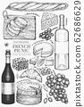 French food illustration set. Hand drawn vector 62686629