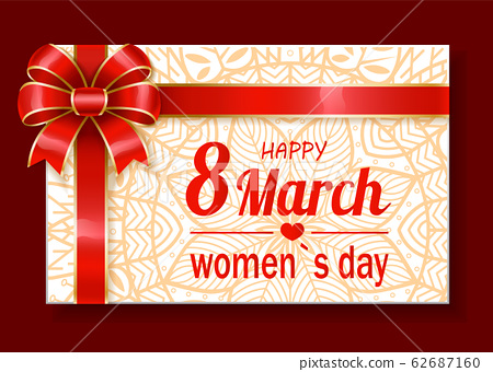 Greeting with Women Holiday, Gift Card on 8 March 62687160