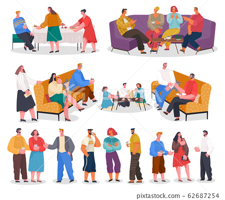 Home Reception Guests and Hosts Collection Vector 62687254