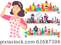 Woman with Many Cosmetics, Concealer and Lipstick 62687306