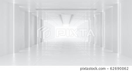 white hallway tunnel modern background with day lighting 3d render illustration 62690862