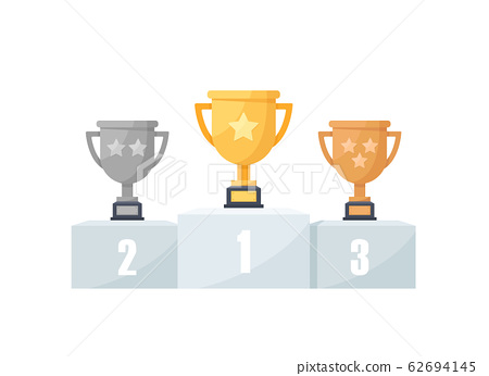 1st, 2nd and 3rd places. Gold, silver, bronze,trophy,flat design icon vector illustration 62694145